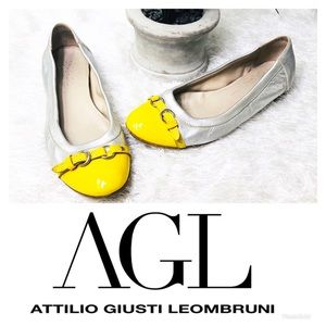 AGL Silver & Yellow Capped Toe Ballet Flats 🌸